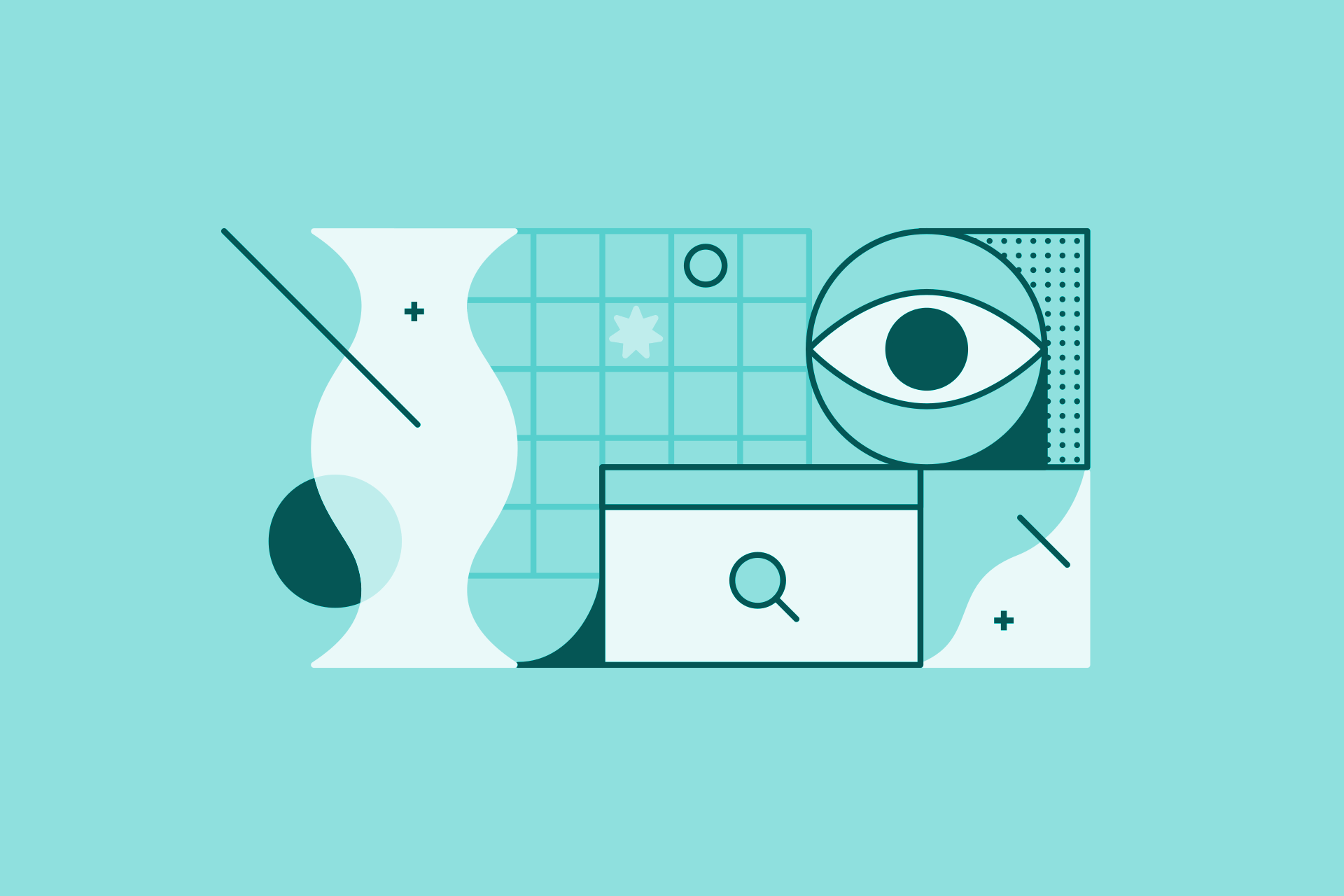 Abstract illustration of web browser, eye, and various shapes
